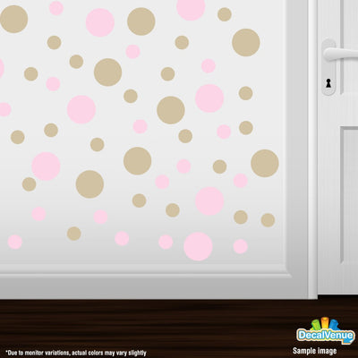 Baby Pink / Beige Polka Dot Circles Wall Decals-Polka Dot Circles-Decal Venue