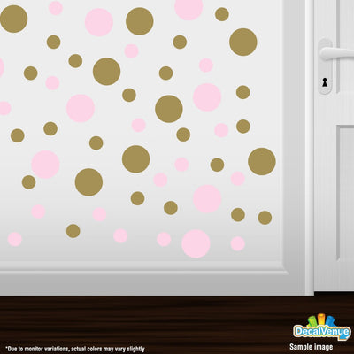 Baby Pink / Metallic Gold Polka Dot Circles Wall Decals | Polka Dot Circles | DecalVenue.com