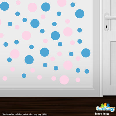 Baby Pink / Ice Blue Polka Dot Circles Wall Decals | Polka Dot Circles | DecalVenue.com