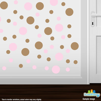 Baby Pink / Light Brown Polka Dot Circles Wall Decals | Polka Dot Circles | DecalVenue.com