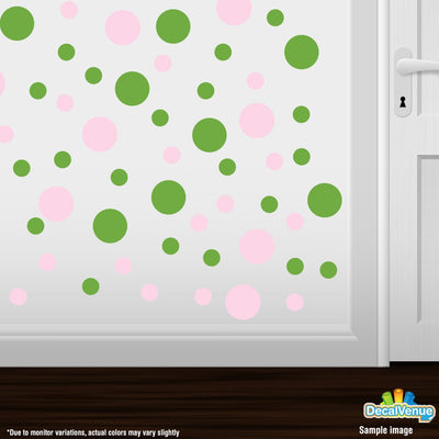 Baby Pink / Lime Green Polka Dot Circles Wall Decals | Polka Dot Circles | DecalVenue.com