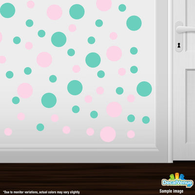 Baby Pink / Mint Green Polka Dot Circles Wall Decals | Polka Dot Circles | DecalVenue.com