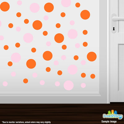 Baby Pink / Orange Polka Dot Circles Wall Decals | Polka Dot Circles | DecalVenue.com