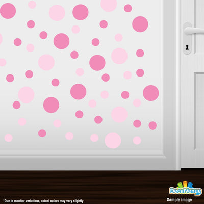 Baby Pink / Pink Polka Dot Circles Wall Decals | Polka Dot Circles | DecalVenue.com