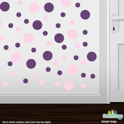 Baby Pink / Purple Polka Dot Circles Wall Decals-Polka Dot Circles-Decal Venue