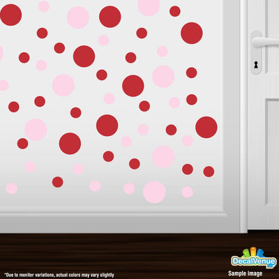 Baby Pink / Red Polka Dot Circles Wall Decals | Polka Dot Circles | DecalVenue.com