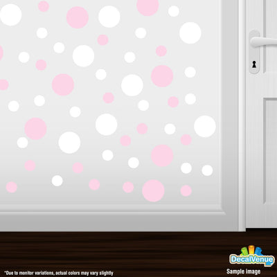 Baby Pink / White Polka Dot Circles Wall Decals | Polka Dot Circles | DecalVenue.com