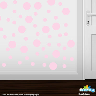Baby Pink Polka Dot Circles Wall Decals | Polka Dot Circles | DecalVenue.com