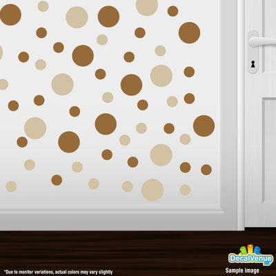 Beige / Metallic Copper Polka Dot Circles Wall Decals | Polka Dot Circles | DecalVenue.com