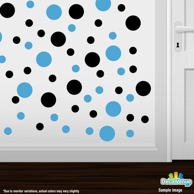 Black / Ice Blue Polka Dot Circles Wall Decals-Polka Dot Circles-Decal Venue