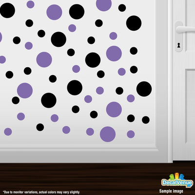 Black / Lavender Polka Dot Circles Wall Decals | Polka Dot Circles | DecalVenue.com