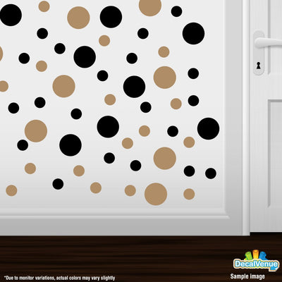 Black / Light Brown Polka Dot Circles Wall Decals | Polka Dot Circles | DecalVenue.com