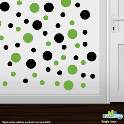 Black / Lime Green Polka Dot Circles Wall Decals-Polka Dot Circles-Decal Venue