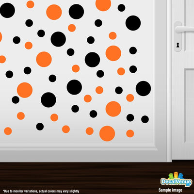 Black / Orange Polka Dot Circles Wall Decals-Polka Dot Circles-Decal Venue