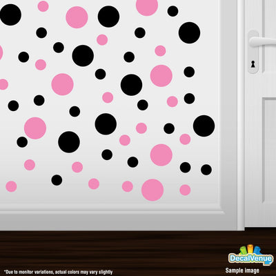 Black / Pink Polka Dot Circles Wall Decals | Polka Dot Circles | DecalVenue.com