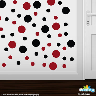 Black / Red Circle Polka Dots Decal Stickers | Decal Venue
