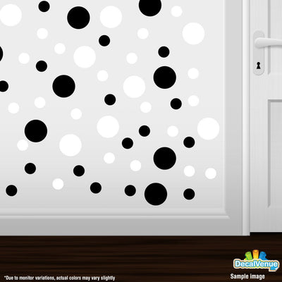 Black / White Circle Polka Dots Decal Stickers | Decal Venue