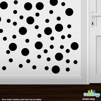 Black Polka Dot Circles Wall Decals | Polka Dot Circles | DecalVenue.com
