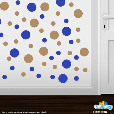 Blue / Light Brown Polka Dot Circles Wall Decals | Polka Dot Circles | DecalVenue.com