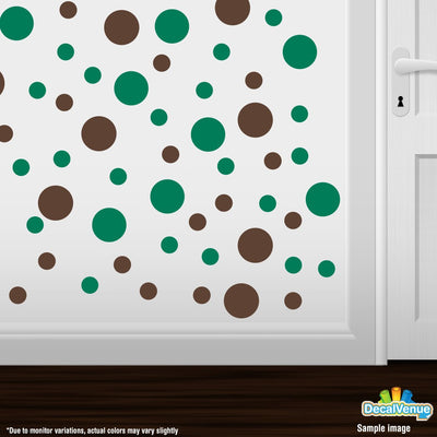 Chocolate Brown / Green Polka Dot Circles Wall Decals-Polka Dot Circles-Decal Venue