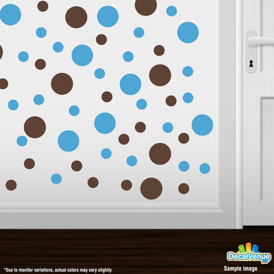 Chocolate Brown / Ice Blue Polka Dot Circles Wall Decals | Polka Dot Circles | DecalVenue.com
