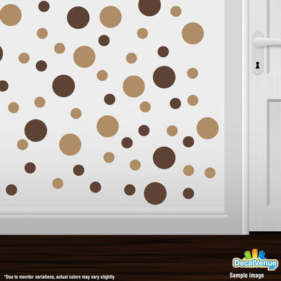 Chocolate Brown / Light Brown Polka Dot Circles Wall Decals | Polka Dot Circles | DecalVenue.com
