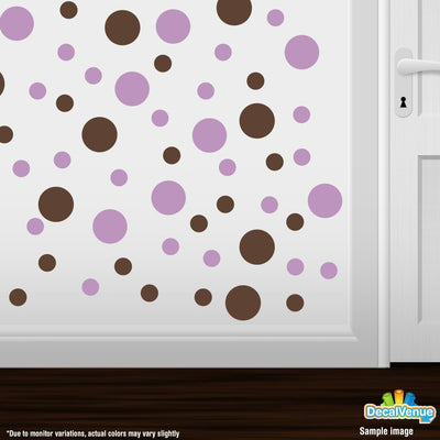 Chocolate Brown / Lilac Polka Dot Circles Wall Decals | Polka Dot Circles | DecalVenue.com