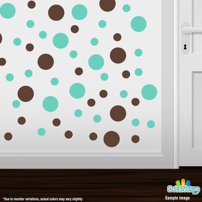 Chocolate Brown / Mint Green Polka Dot Circles Wall Decals | Polka Dot Circles | DecalVenue.com
