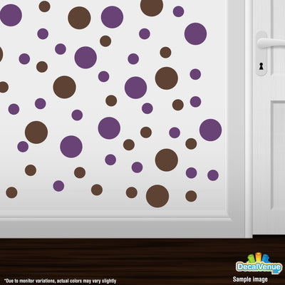 Chocolate Brown / Purple Polka Dot Circles Wall Decals | Polka Dot Circles | DecalVenue.com