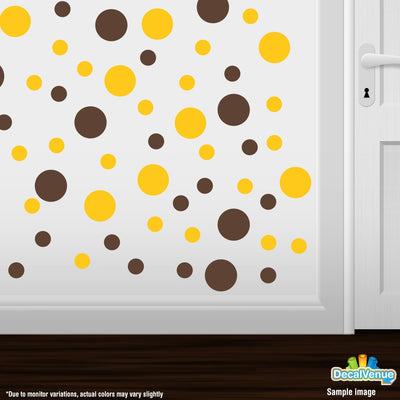 Chocolate Brown / Yellow Polka Dot Circles Wall Decals | Polka Dot Circles | DecalVenue.com