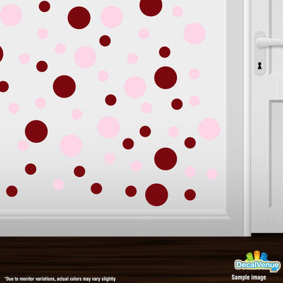 Burgundy / Baby Pink Polka Dot Circles Wall Decals | Polka Dot Circles | DecalVenue.com
