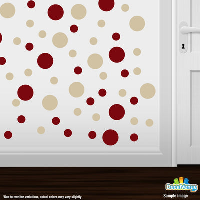 Burgundy / Beige Polka Dot Circles Wall Decals | Polka Dot Circles | DecalVenue.com