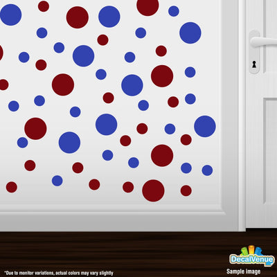 Burgundy / Blue Polka Dot Circles Wall Decals | Polka Dot Circles | DecalVenue.com