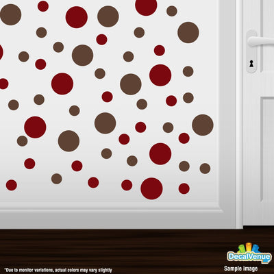 Burgundy / Chocolate Brown Polka Dot Circles Wall Decals | Polka Dot Circles | DecalVenue.com
