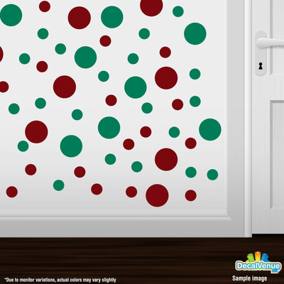 Burgundy / Green Polka Dot Circles Wall Decals | Polka Dot Circles | DecalVenue.com