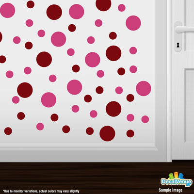 Burgundy / Hot Pink Polka Dot Circles Wall Decals | Polka Dot Circles | DecalVenue.com