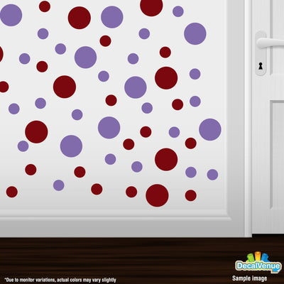 Burgundy / Lavender Polka Dot Circles Wall Decals | Polka Dot Circles | DecalVenue.com