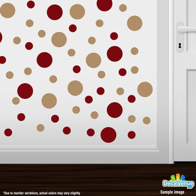Burgundy / Light Brown Polka Dot Circles Wall Decals-Polka Dot Circles-Decal Venue