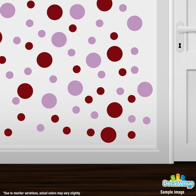 Burgundy / Lilac Polka Dot Circles Wall Decals | Polka Dot Circles | DecalVenue.com