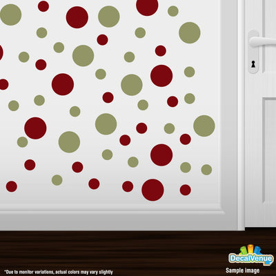 Burgundy / Olive Green Polka Dot Circles Wall Decals | Polka Dot Circles | DecalVenue.com