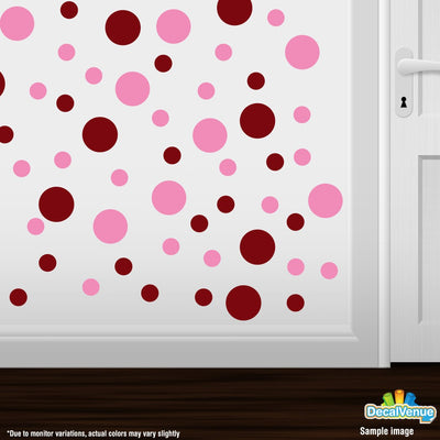 Burgundy / Pink Polka Dot Circles Wall Decals | Polka Dot Circles | DecalVenue.com