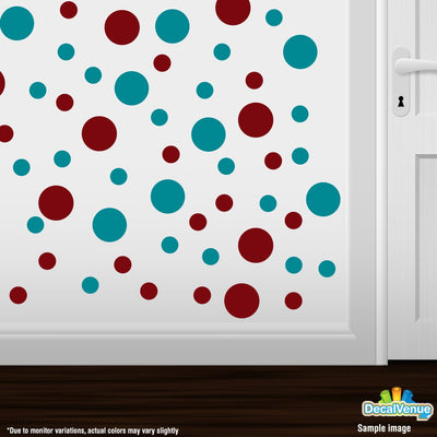 Burgundy / Turquoise Polka Dot Circles Wall Decals | Polka Dot Circles | DecalVenue.com