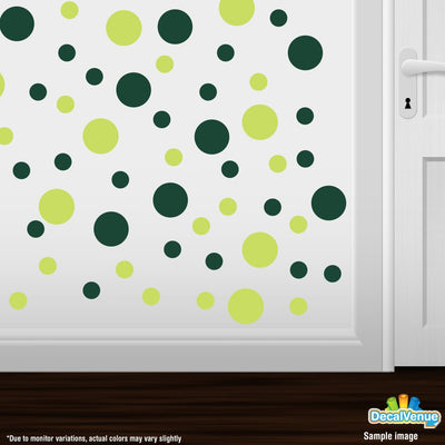 Chartreuse / Dark Green Polka Dot Circles Wall Decals-Polka Dot Circles-Decal Venue