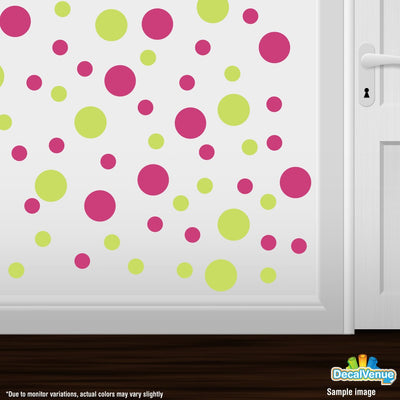 Chartreuse / Hot Pink Polka Dot Circles Wall Decals | Polka Dot Circles | DecalVenue.com