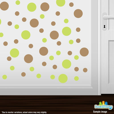 Chartreuse / Light Brown Polka Dot Circles Wall Decals | Polka Dot Circles | DecalVenue.com