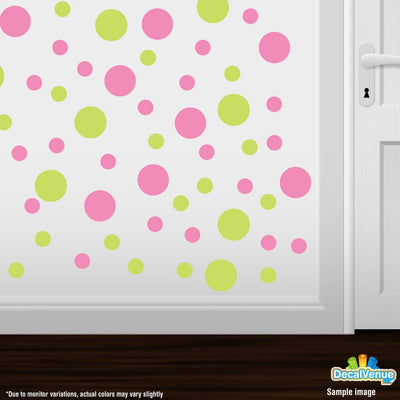 Chartreuse / Pink Polka Dot Circles Wall Decals | Polka Dot Circles | DecalVenue.com