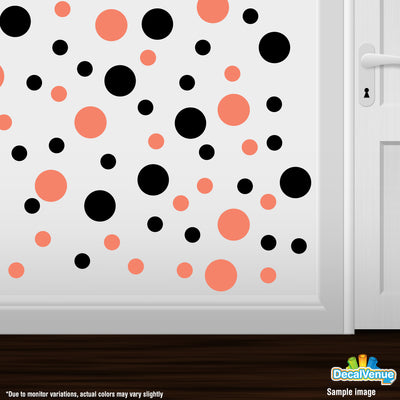Coral / Black Polka Dot Circles Wall Decals