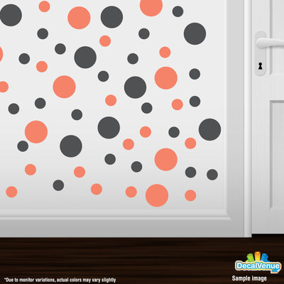 Coral / Dark Grey Polka Dot Circles Wall Decals