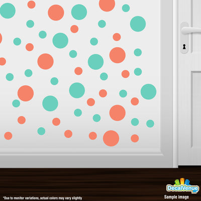 Coral / Mint Green Polka Dot Circles Wall Decals