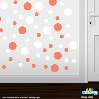 Coral / White Polka Dot Circles Wall Decals | Polka Dot Circles | DecalVenue.com